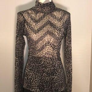 Sexy Karen Kane Sheet Leopard Print Turtleneck